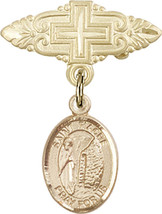 14K Gold Filled Baby Badge with St. Fiacre Charm Pin with Cross 1 X 3/4 inch - $85.05