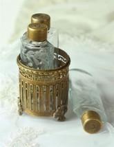 Victorian 3 Glass Bottles w Metal Holder  Vanity ~ Dresser  - $6.99