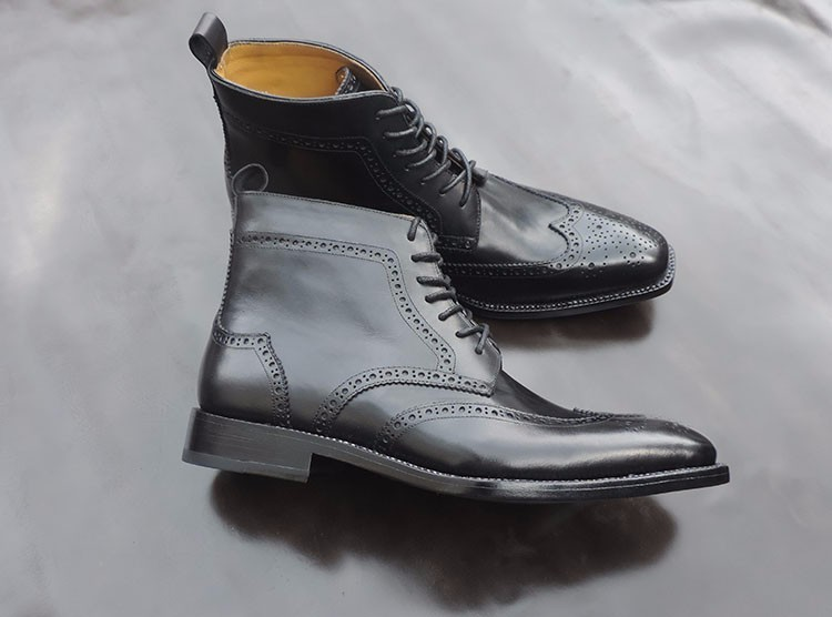 1a7428b63e6d9 Mens goodyear welted boots handmade wingtip derby boots unique black ankle  boots for2