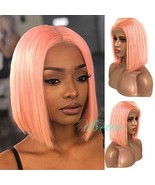 Pink Bob Wig Lace Front Human Hair 8 inch No Bangs Pre Plucked with Baby... - $68.27