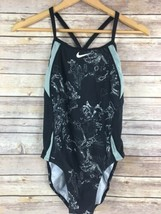Nike One Piece 34 Womens Swimsuit Racerback Black Gray Graphic Competition - $24.21