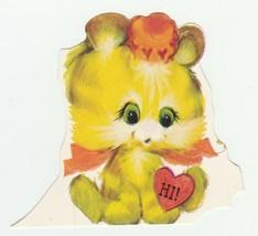 Vintage Valentine Card Yellow Kitten 1960's Hallmark With Envelope Cat - $7.91