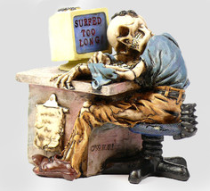 skeleton figurine surfed too long skeleton maniac computer * Free shipp - $69.00