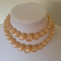 Vintage Opalescent Chunky Round Beaded Double Strand Fashion Necklace  - $40.00
