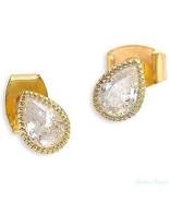 Gold Filled 14k Earrings Cubic Zirconia Designer Warrenty Stud New Lady ... - $28.04