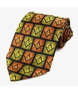 Masonic Squares Men's Necktie Mason Freemason Compass & Square Black Nec... - $15.79