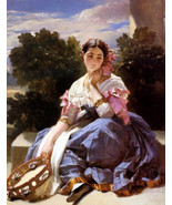 """11 x 14"""" cotton canvas art print- Girl with tamborine painting by  WINTE... - $23.99"""