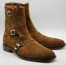 Handmade Men's Brown Suede High Ankle Monk Strap Zipper Boots image 2
