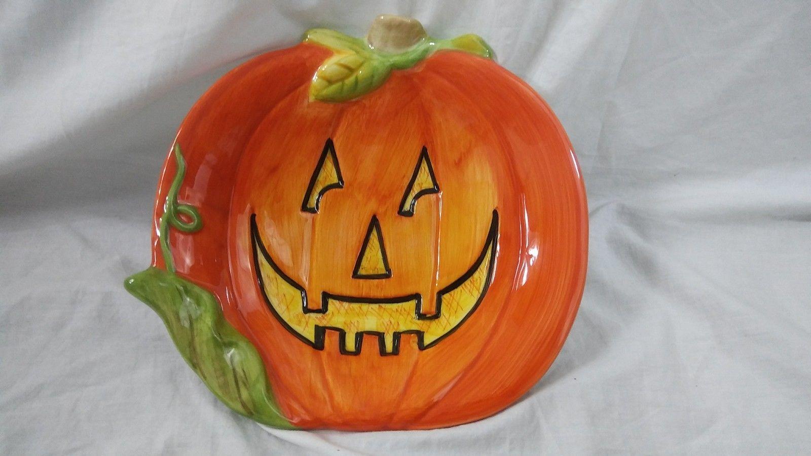 """Susan Winget 8"""" Halloween Pumpkin Candy Dish and similar items"""