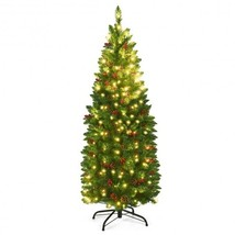 4.5 ft Pre-lit Hinged Pencil Christmas Tree with Pine Cones Red Berries ... - $100.41