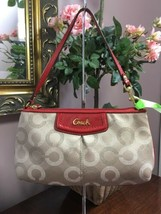 Coach  Wristlet F48053 Ashley Dotted Op Art Large Brown Red Leather  B12 - $59.39