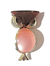BROWN AND PINK THERMOSET LUCITE FIGURAL WISE OWL PIN BROOCH  - $27.00