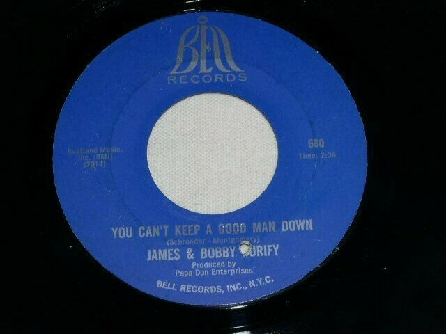 Primary image for JAMES & BOBBY PURIFY YOU CAN'T KEEP A GOOD MAN DOWN WISH YOU 45 RPM RECORD BELL
