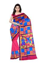 Geometric Printed Murshidabad Pure Silk Saree With Blouse Pices RED (C70) - $120.02