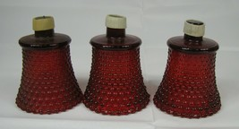 THREE Vintage HOMCO Home Interiors Glass Votive Candle Holders RED Hobnail - $18.80