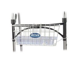 Walker Shopping Storage Metal Wire Basket White Drive Medical w Drink Cu... - $14.11
