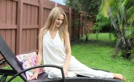 Handmade Organic Gauze Cotton V Neck Sides Pockets Long Boho Jumpsuit - $79.00
