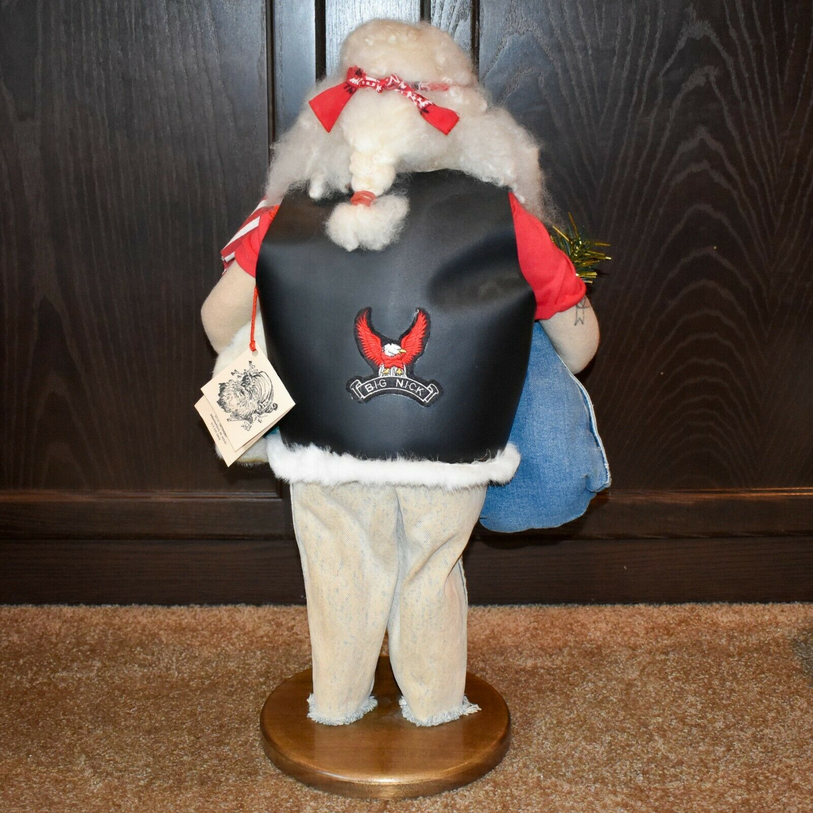 """Handcrafted """"Big Nick"""" Biker Santa Claus Father Christmas Signed 24"""" Cloth Doll"""