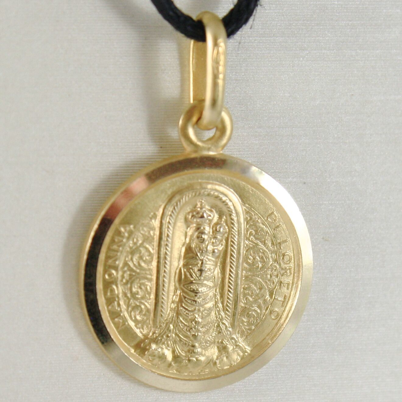 18K YELLOW GOLD MADONNA OUR LADY OF LORETO PATRON AVIATION MEDAL MADE IN ITALY