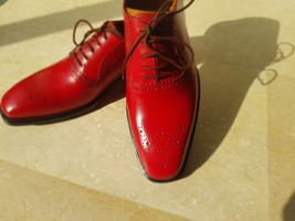Handmade Red Heart Medallion Lace up Dress/Formal Oxford Shoes For Men image 1