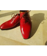 Handmade Red Heart Medallion Lace up Dress/Formal Oxford Shoes For Men - $71.28+