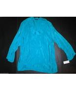 New Womens Josie Natori M Aqua Blue Teal  NWT $395 Cupro Tunic Top Layer... - $390.00