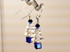 Christmas Tree Earrings / Blue/ made w/ Swarovski Crystals / 925 Sterling image 2