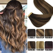 Labhair Tape In Hair Extensions Human Hair #2 Dark Brown Highlighted #6 Light Br
