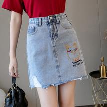 Mini Denim Skirt 2019 Summer Wild New Large Size High Waist Slim Fit A line Stud image 4