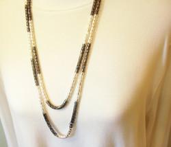"Alfani Black and Silver Tone Long Rope Sautoir Necklace Versatile 60"" Es... - $29.65"