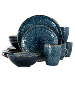 Elama Deep Sea Mozaic 16 Piece Luxurious Stoneware Dinnerware with Compl... - $84.82