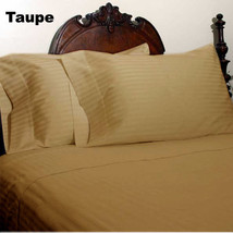 1200 Thread Count 1PC Fitted Sheet Egyptian Cotton US Sizes Taupe Striped - $41.39