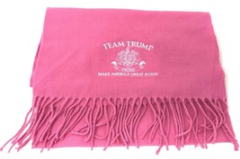 Team Trump Pink w/ White Embroidered Soft Scarf 2016 Presidential Electi... - $35.99