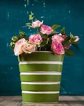 Small Size Metal Decorative Planter for Home Indoor Outdoor Garden (Green) - £15.83 GBP