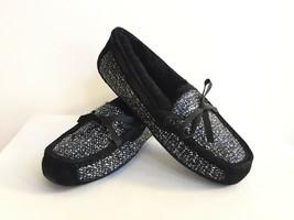 Ugg Symona Frill Metallic Black Shearling Lined Slippers Us 12 / Eu 43 /UK 10.5 - $83.22
