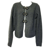 Cynthia Rowley Dark Gray Knit Hook Loop Clasp Button Closure Sweater Size M - $24.74