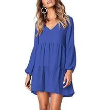 YANMAY Women's Casual Swing Shift Dresses Blue Medium 1042-4 - $17.23