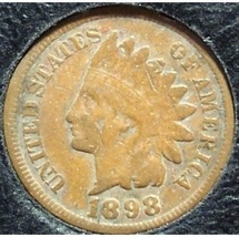 1898 Indian Head Penny Partial Liberty VG #0727 - $2.99