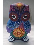Colorful Clay Hand-painted Owl Figurine Mexican Folk Art Great Gift Item... - $24.74