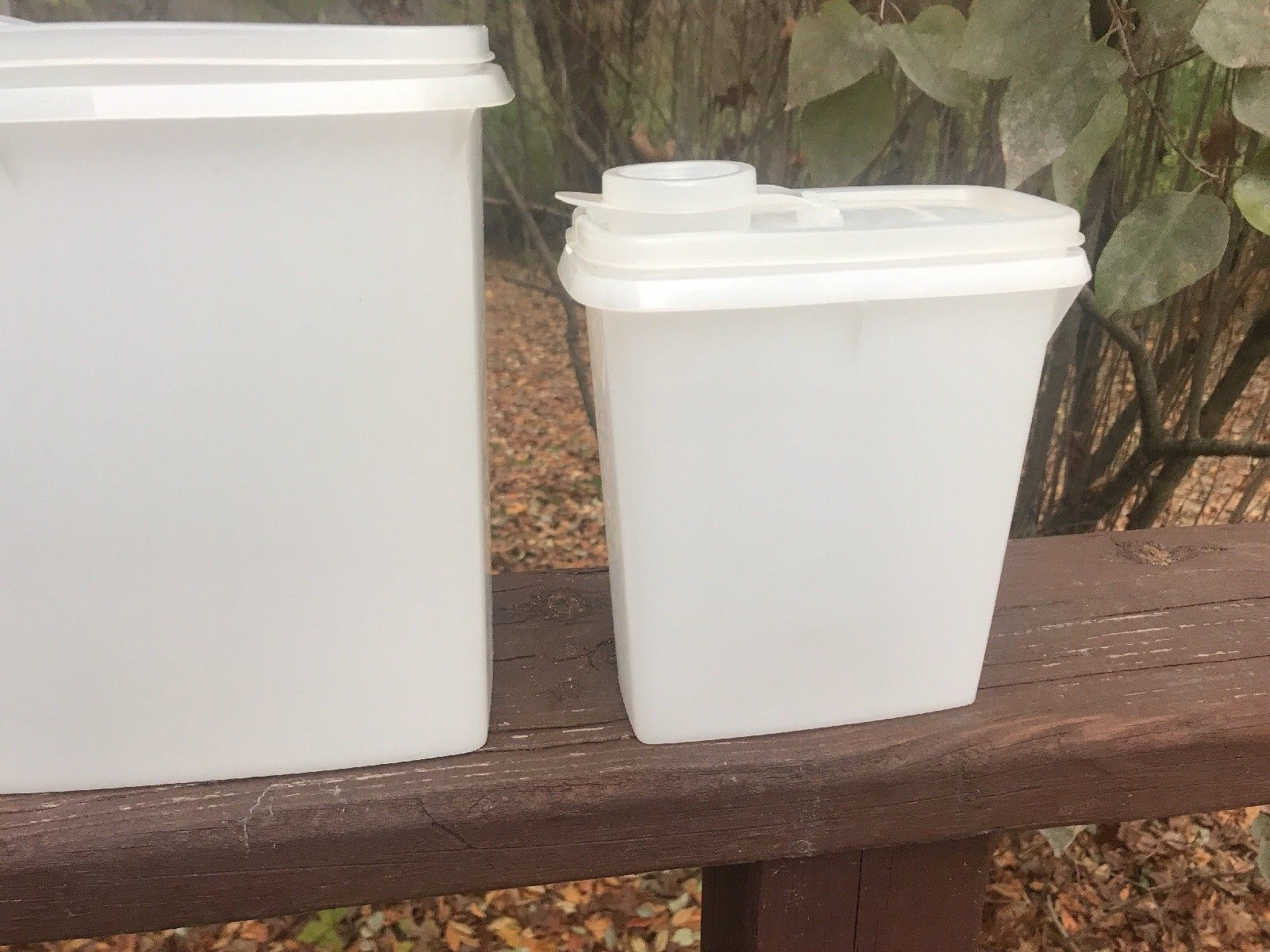 2 Vtg Tupperware Clear Cereal Storage Keeper Containers 469 Pour Lids 12 Cup 499