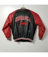 Steve & Barrys Nebraska Cornhuskers Mens Faux Leather Jacket XXL 2XL Bla... - $46.71