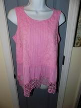 Crown & Ivy Pink Eyelet Lace Ruffle Peplum Top Size PS Women's NWOT - $21.06