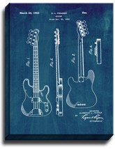 Clarence Fender Precision Bass Patent Print Midnight Blue on Canvas - $39.95+
