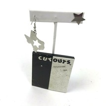 Vtg 90s Cut Outs Earrings Asymmetrical Silver Tone Pierced Texas Star da... - $14.84