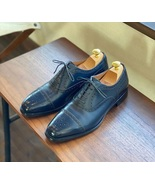 Men's Handmade Oxford Navy Blue Brogues Shoes, Dress Leather Formal shoes - $144.99+