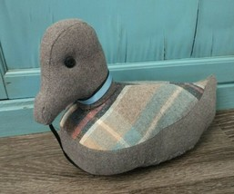 Vintage Hand-Made Fabric Stuffed Duck Door Stop 12 inch flannel decor - $19.75