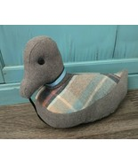 Vintage Hand-Made Fabric Stuffed Duck Door Stop 12 inch flannel decor - $19.75