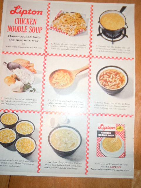 Vintage Lipton Chicken Noodle Soup Print Magazine Advertisement 1961