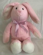 "Commonwealth 13"" Pink Push BUNNY RABBIT Baby Toy Lovey w/Purple Nylon Bow 2007 - $21.77"