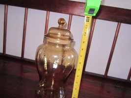 Vintage 11 inch Glass Cookie Jar, Yellow textured glass - $18.70